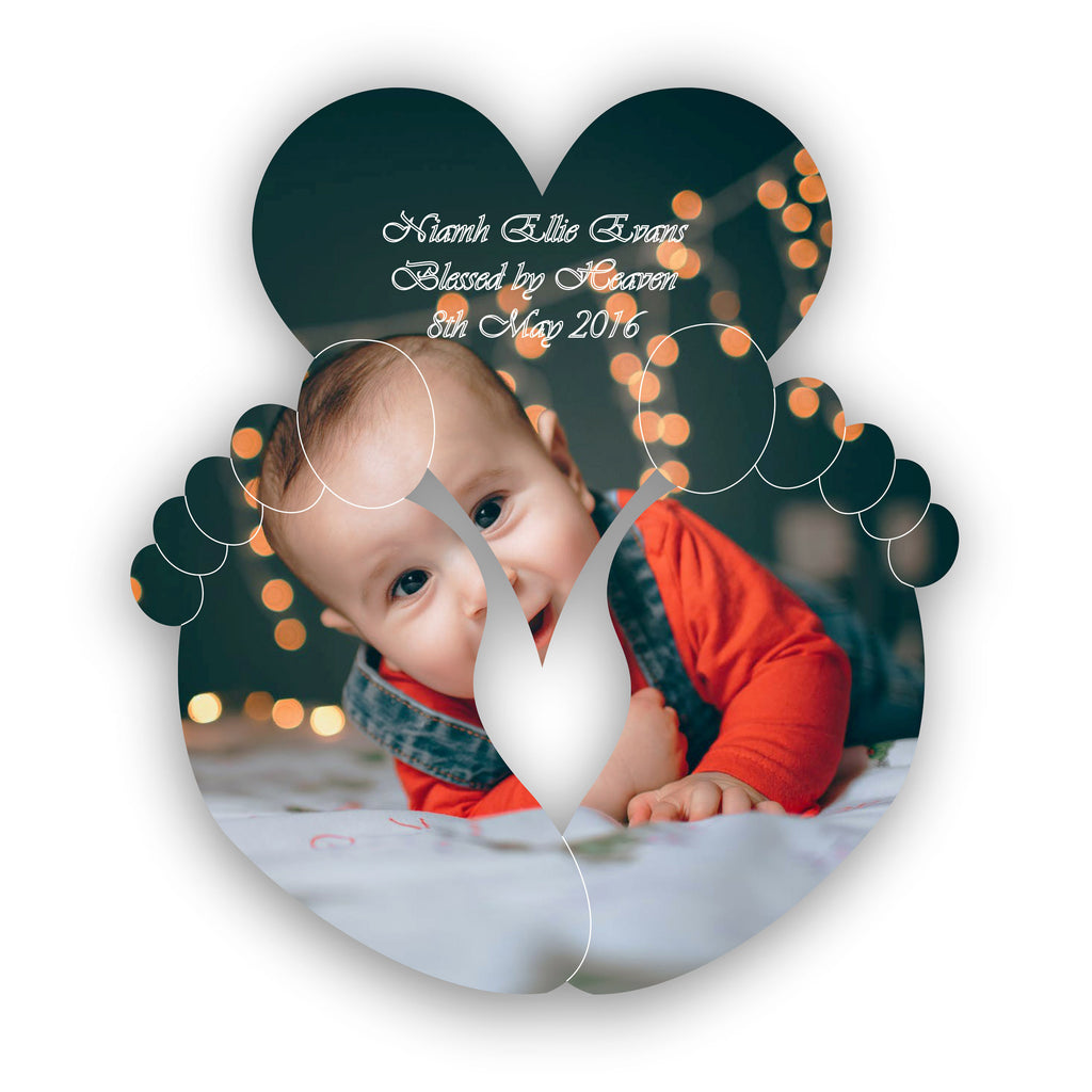 New Baby Christening Baby Feet and Personalised Heart Acrylic Mirror
