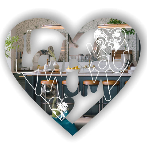 I LOVE YOU MUM Engraved Heart Acrylic Mirror