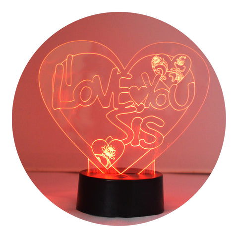 I Love You Sis Heart Colour Changing LED Acrylic Light