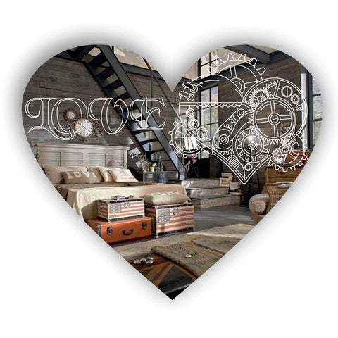 Steampunk Engraved Love Heart Acrylic Mirror