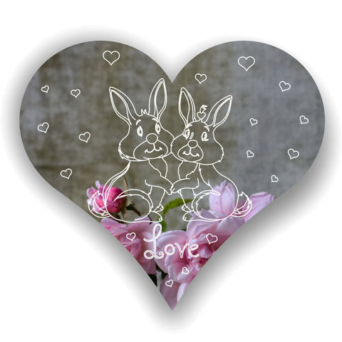 Love Bunnies on Heart Acrylic Mirror