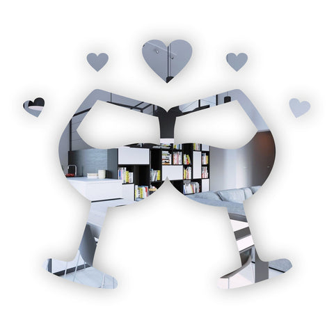 Lovers Wine Glasses with Hearts Acrylic Mirror - Suave Petal