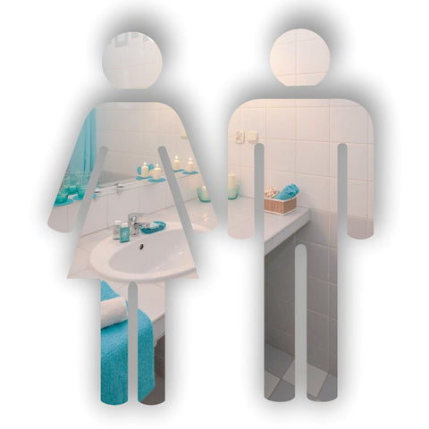 Male & Female People Toilet WC Door Signs in Acrylic Mirror