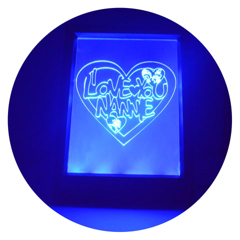 I Love You NANNIE Heart Colour Changing RC LED Mirror Light Frame - Suave Petal
