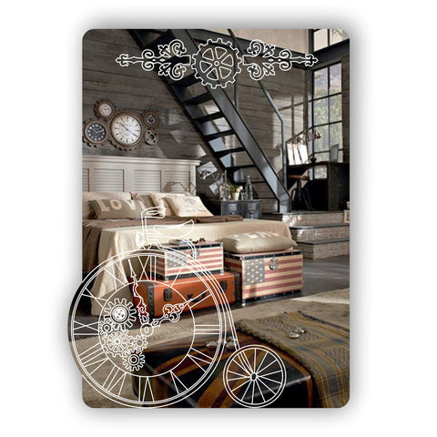 Steampunk Engraved Penny Farthing & Gears Rectangular Acrylic Mirror