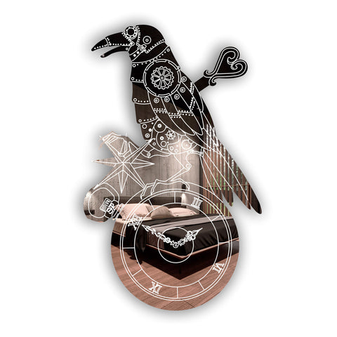Steampunk Engraved Raven & Pocket Watch Acrylic Mirror