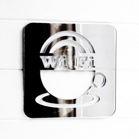 WIFI & Coffee Cup Square Acrylic Mirror Sign - Suave Petal