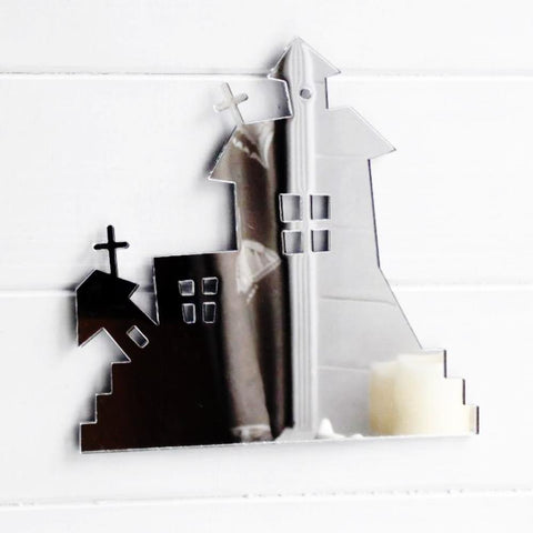 Spooky Haunted House Acrylic Mirror - Suave Petal