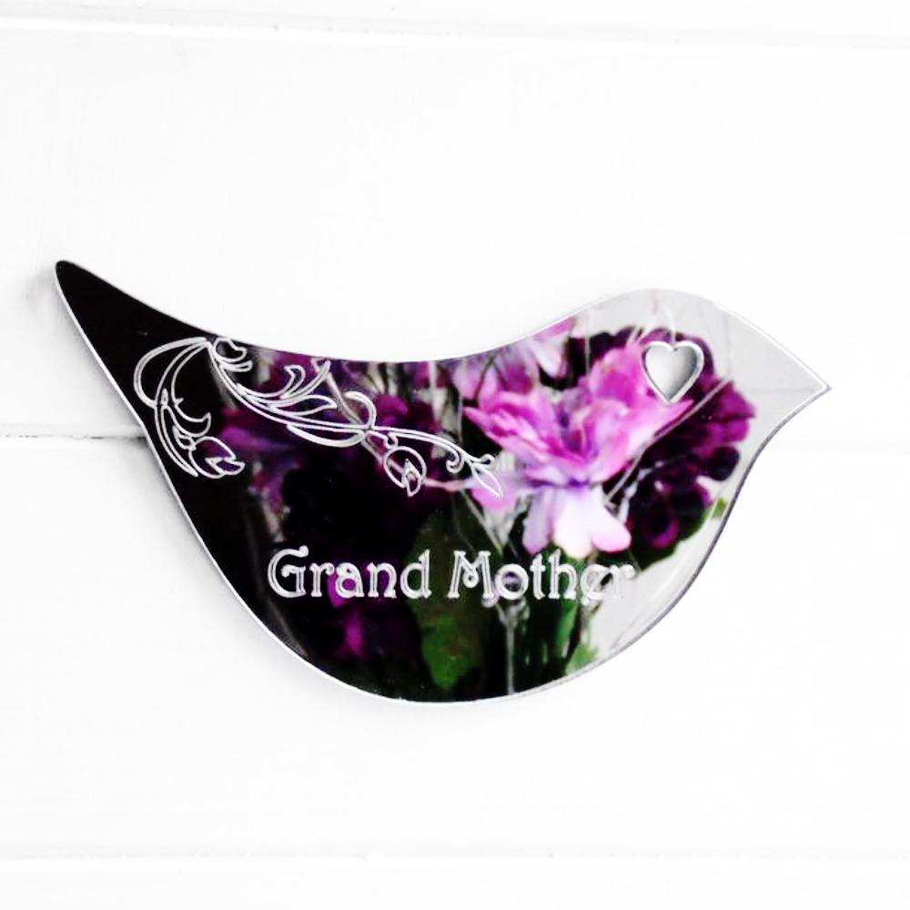 Floral Dove Acrylic Mirror Door or Wall Sign - GRAND MOTHER - Suave Petal