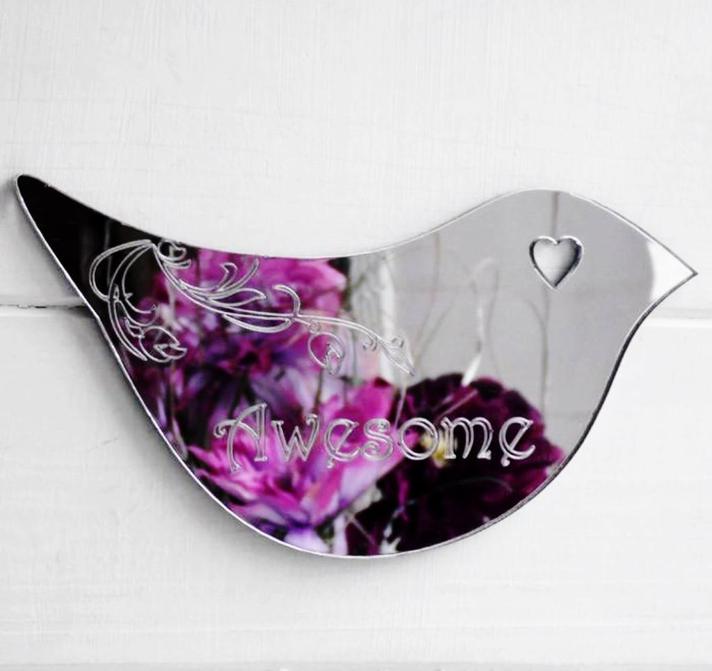 Floral Dove Acrylic Mirror Door or Wall Sign - AWESOME - Suave Petal