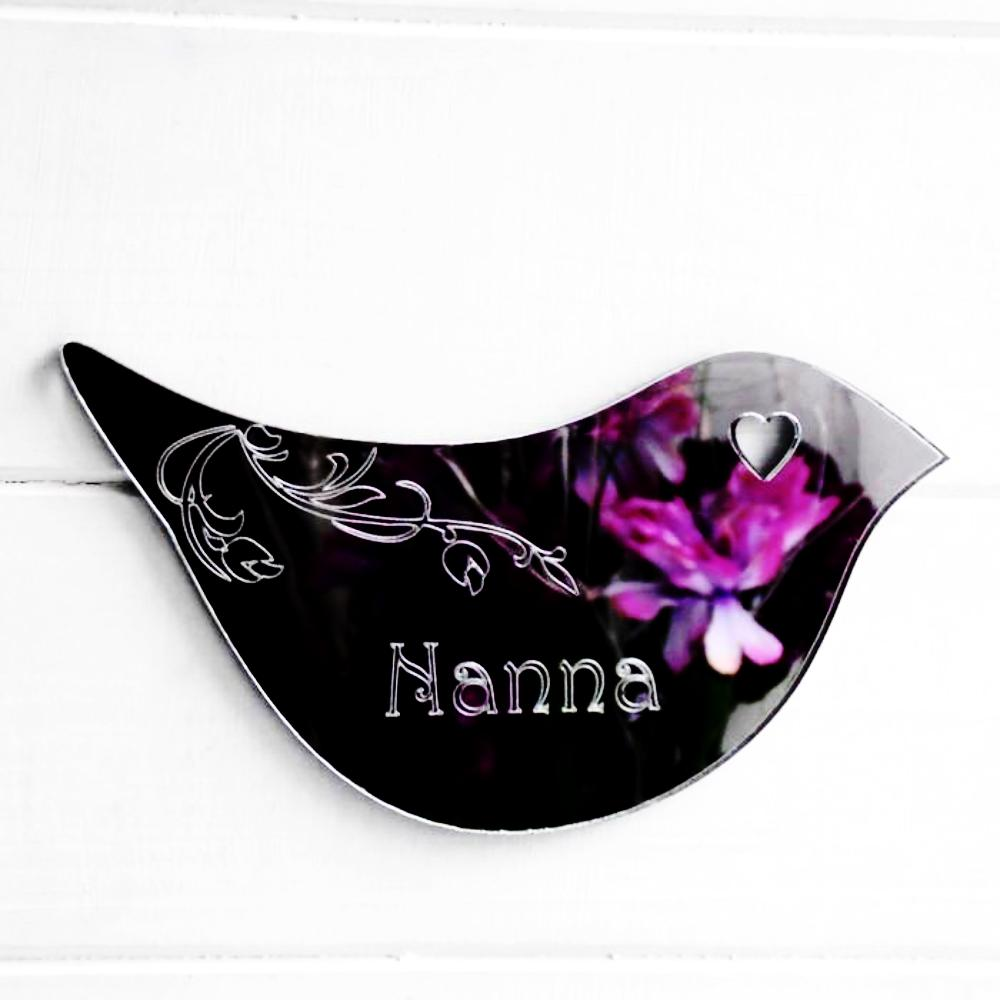 Floral Dove Acrylic Mirror Door or Wall Sign - NANA - Suave Petal