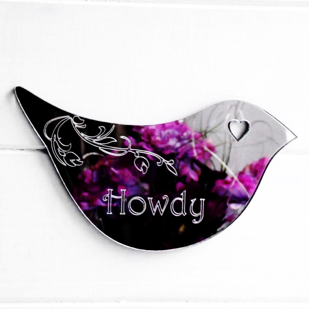 Floral Dove Acrylic Mirror Door or Wall Sign - HOWDY - Suave Petal