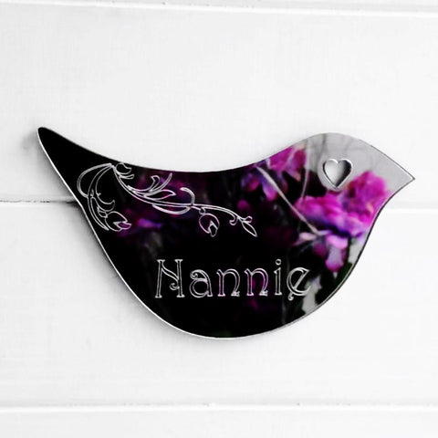 Floral Dove Acrylic Mirror Door or Wall Sign - NANNIE - Suave Petal