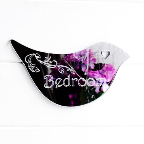 Floral Dove Acrylic Mirror Door or Wall Sign - BEDROOM - Suave Petal