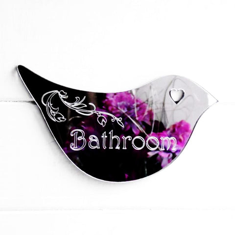 Floral Dove Acrylic Mirror Door or Wall Sign - BATHROOM - Suave Petal