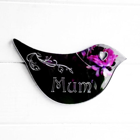 Floral Dove Acrylic Mirror Door or Wall Sign - MUM - Suave Petal