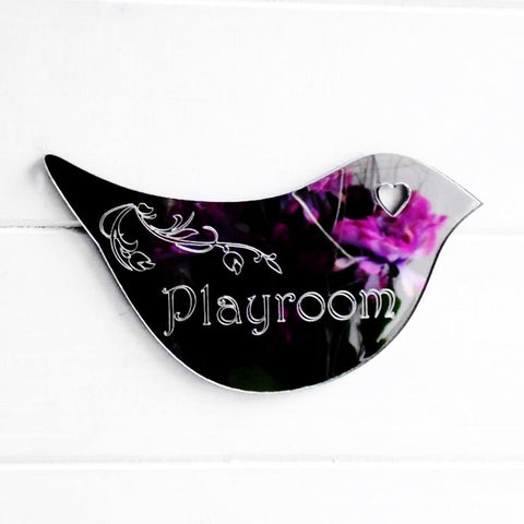 Floral Dove Acrylic Mirror Door or Wall Sign - PLAYROOM - Suave Petal