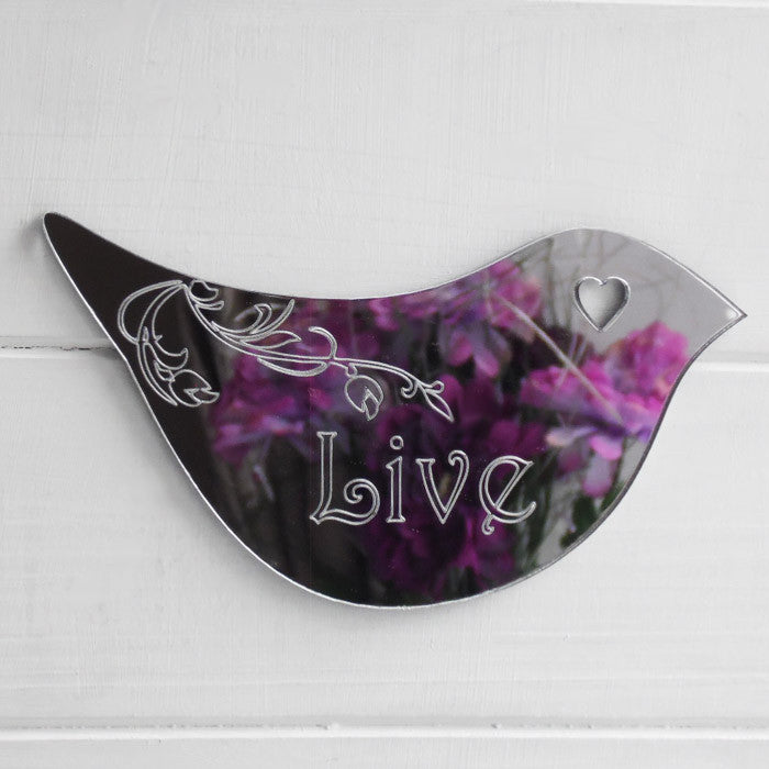Floral Dove Acrylic Mirror Door or Wall Sign - LIVE - Suave Petal