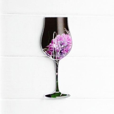 Wine Glass Acrylic Mirror - Suave Petal