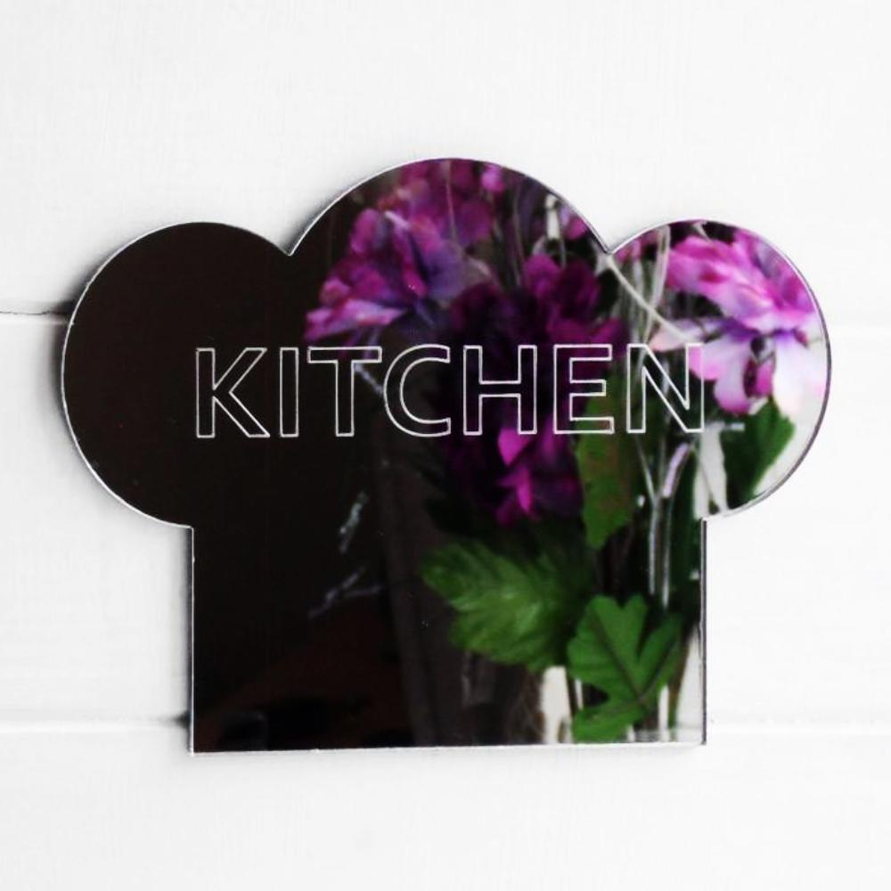 Kitchen Engraved Chefs Hat Acrylic Mirror Sign - Suave Petal