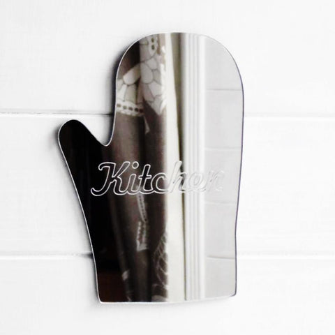 Kitchen Engraved Oven Glove Acrylic Mirror Sign - Suave Petal