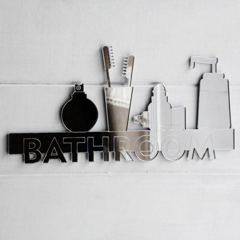 Bathroom Shelf Door / Wall Acrylic Mirror Sign - Suave Petal