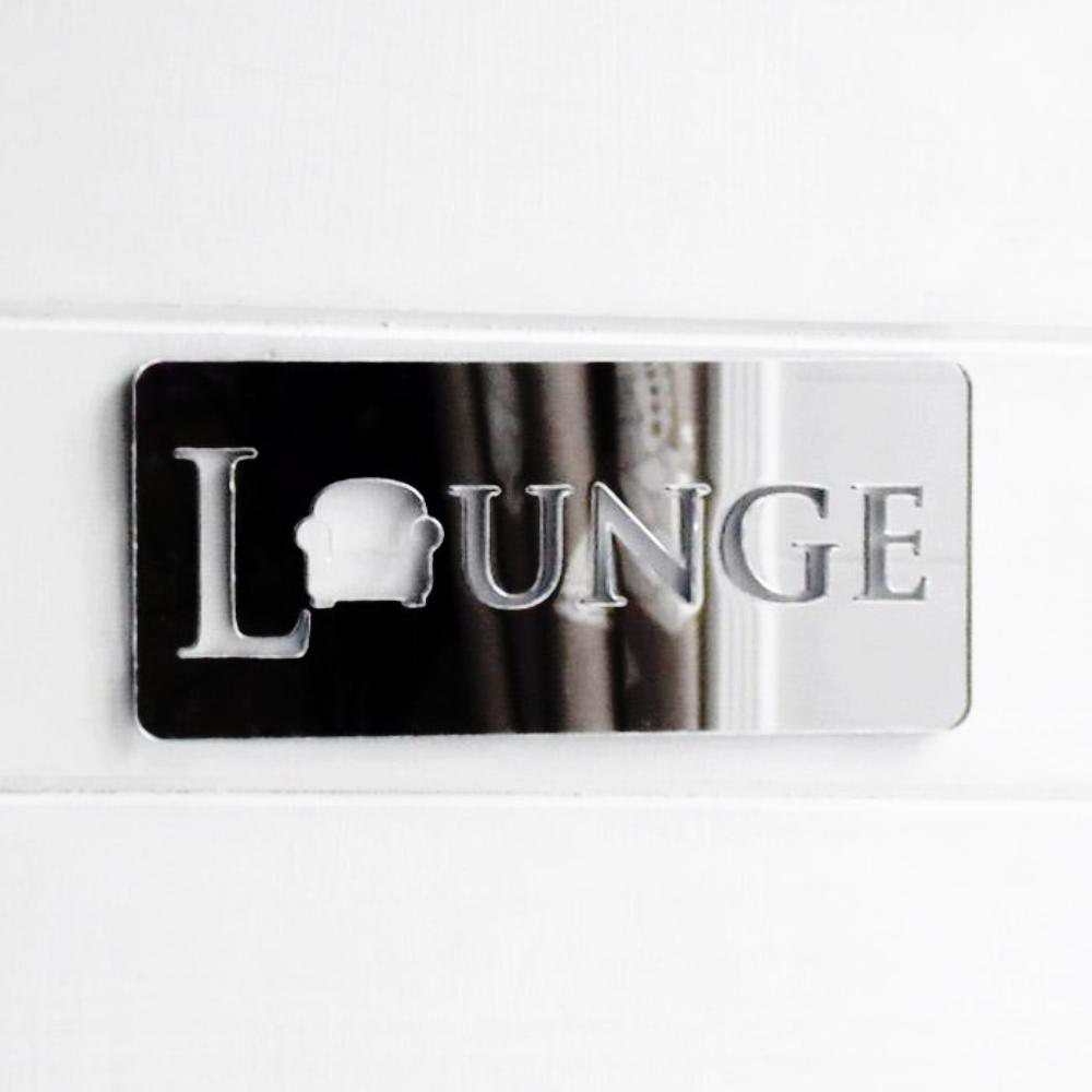 Lounge / Living Room Chair Acrylic Mirrored Door Sign - Suave Petal