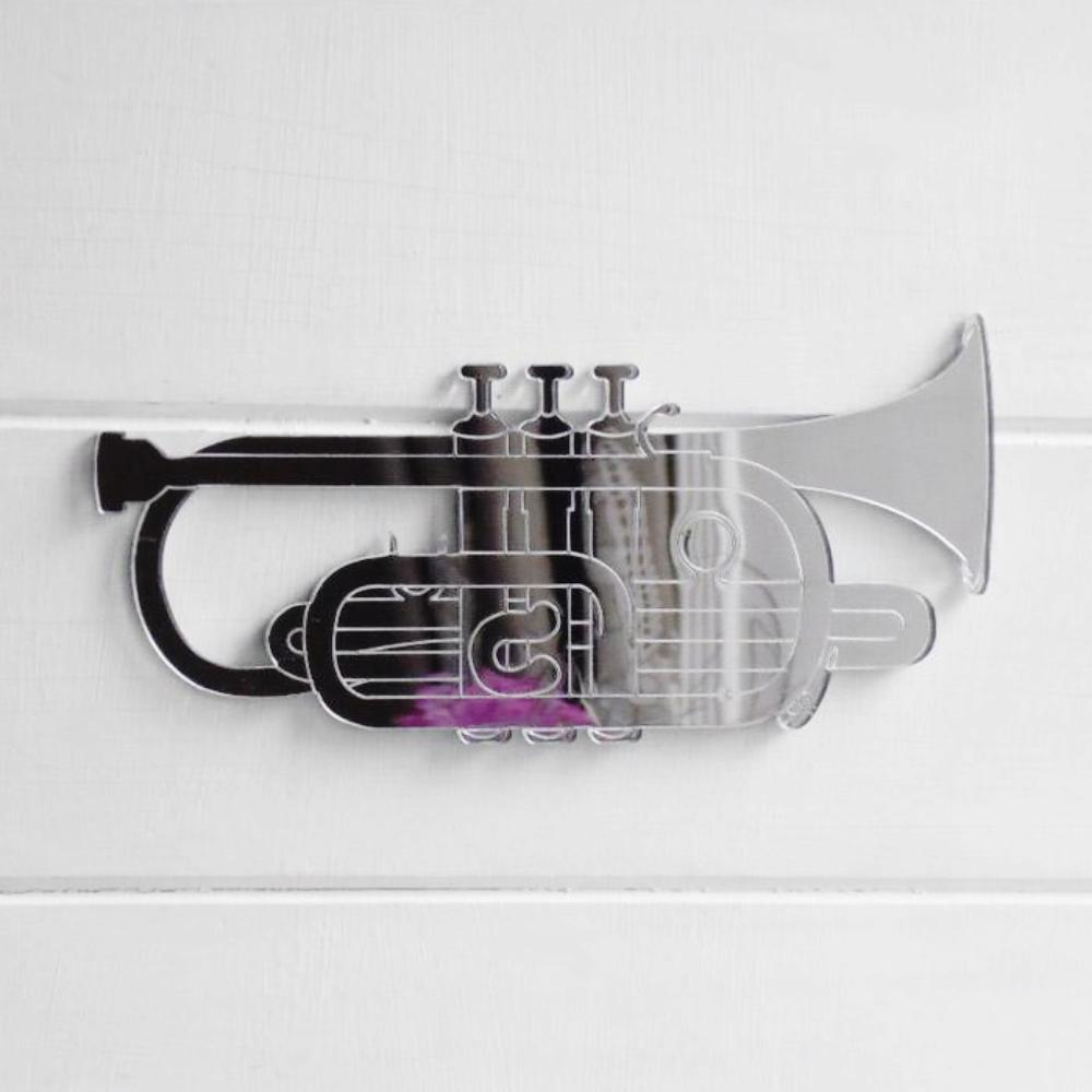 Cornet Brass / Wind Musical Instrument Engraved Acrylic Mirror - Suave Petal