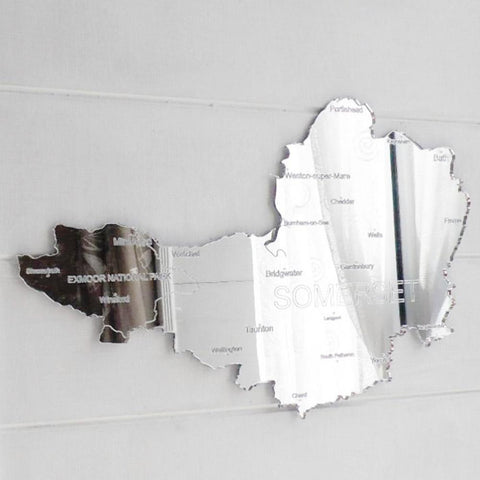 County Map of SOMERSET UK Engraved Acrylic Mirror - Suave Petal