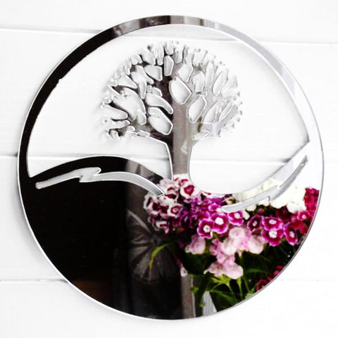 Tree of Life Circle Acrylic Mirror - Suave Petal