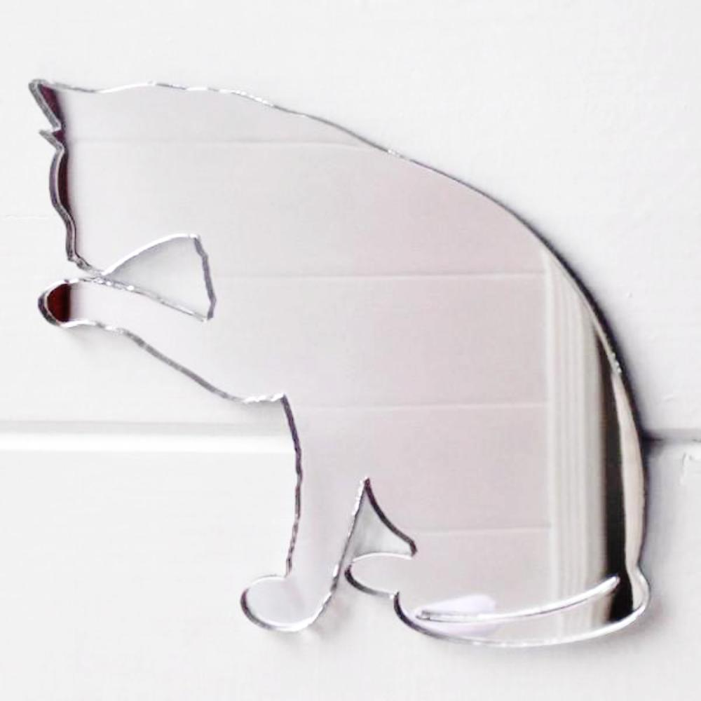 Washing Cleaning Licking Cat Acrylic Mirror - Suave Petal