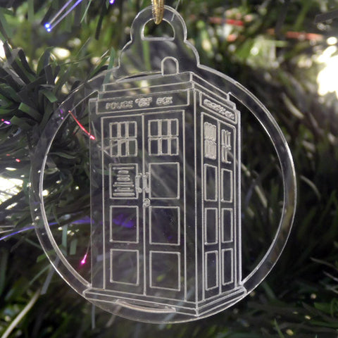 6 Pk of Handmade DR WHO themed Clear Acrylic Christmas Tree Decorations - Suave Petal