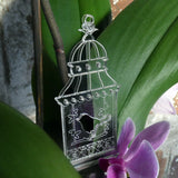 3 Pk Shabby Chic Bird Cages Clear Acrylic Christmas Decorations - Suave Petal