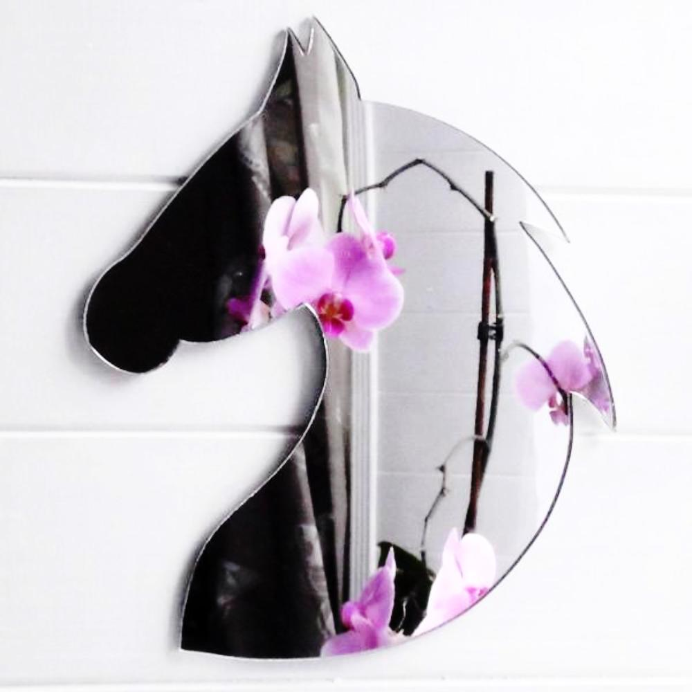 Rounded Horse Head With Mane Acrylic Mirror - Suave Petal