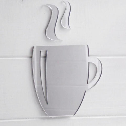 Coffee Mug & Steam Acrylic Mirror - Suave Petal