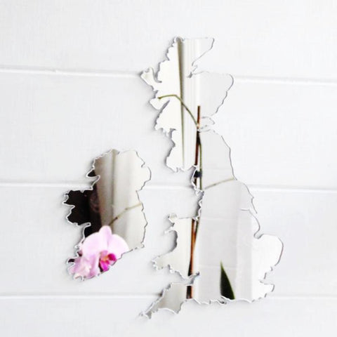 Map of UK and Ireland Acrylic Mirror - Suave Petal