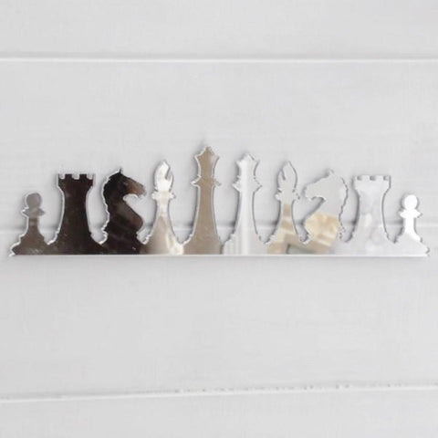 Chess Pieces Row Acrylic Mirror - Suave Petal
