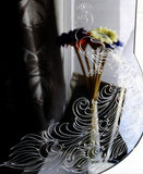 Elegant Engraved Peacock Rectangle Acrylic Mirror - Suave Petal