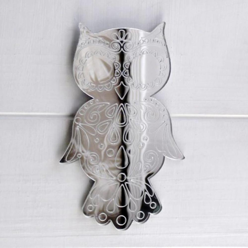 Decorative Mandala Wise Owl Engraved Acrylic Mirror - Suave Petal
