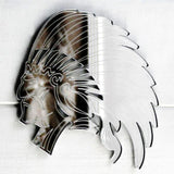 Indian Chief in Headdress Cut & Engraved Acrylic Mirror - Suave Petal