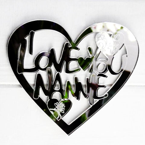 I LOVE YOU NANNIE Engraved Heart Acrylic Mirror - Suave Petal