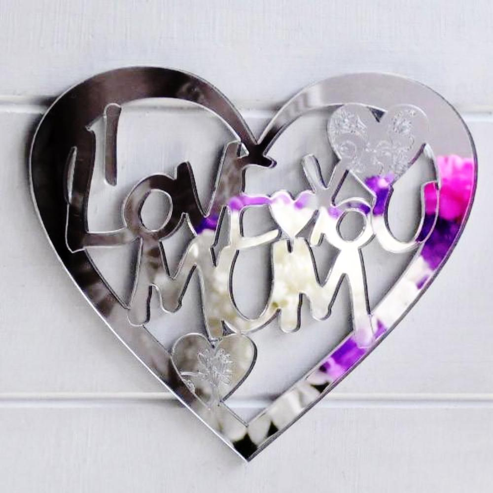 I LOVE YOU MUM Engraved Heart Acrylic Mirror - Suave Petal