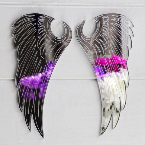 Angel Wings Engraved Acrylic Mirror - Suave Petal