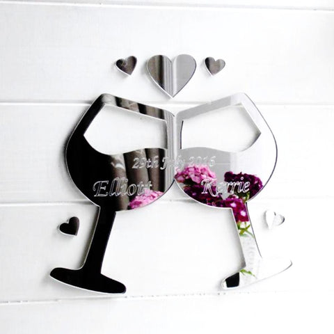 Wedding / Engagement Personalised Engraved Lovers Wine Glasses Acrylic Mirror - Suave Petal