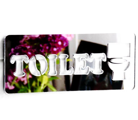 Toilet Chunky Text /Loo /Lavatory Acrylic Mirrored Door Sign - Suave Petal