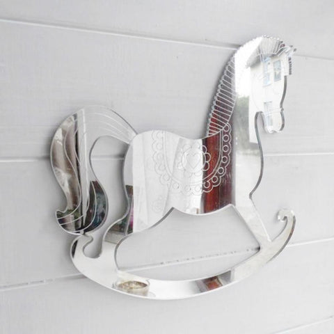 Child's Engraved Rocking Horse Acrylic Mirror - Suave Petal