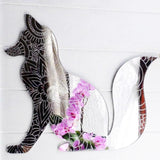 Floral Engraved Bushy Tailed Sitting Fox Acrylic Mirror - Suave Petal