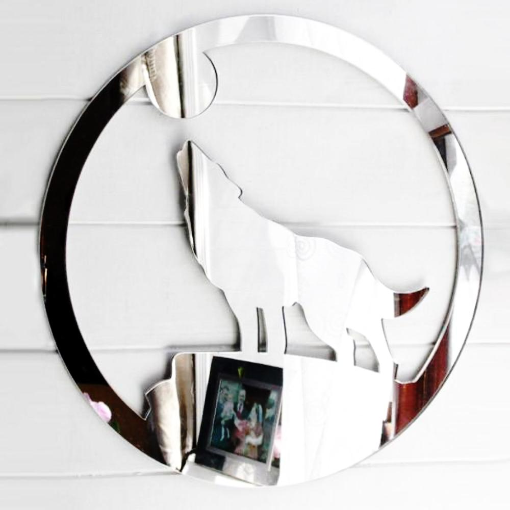 Howling Wolf in Circle Acrylic Mirror - Suave Petal