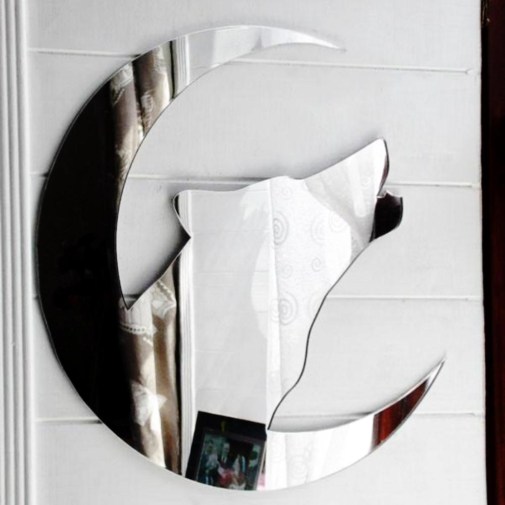 Howling Wolf Head and Crescent Moon Acrylic Mirror - Suave Petal