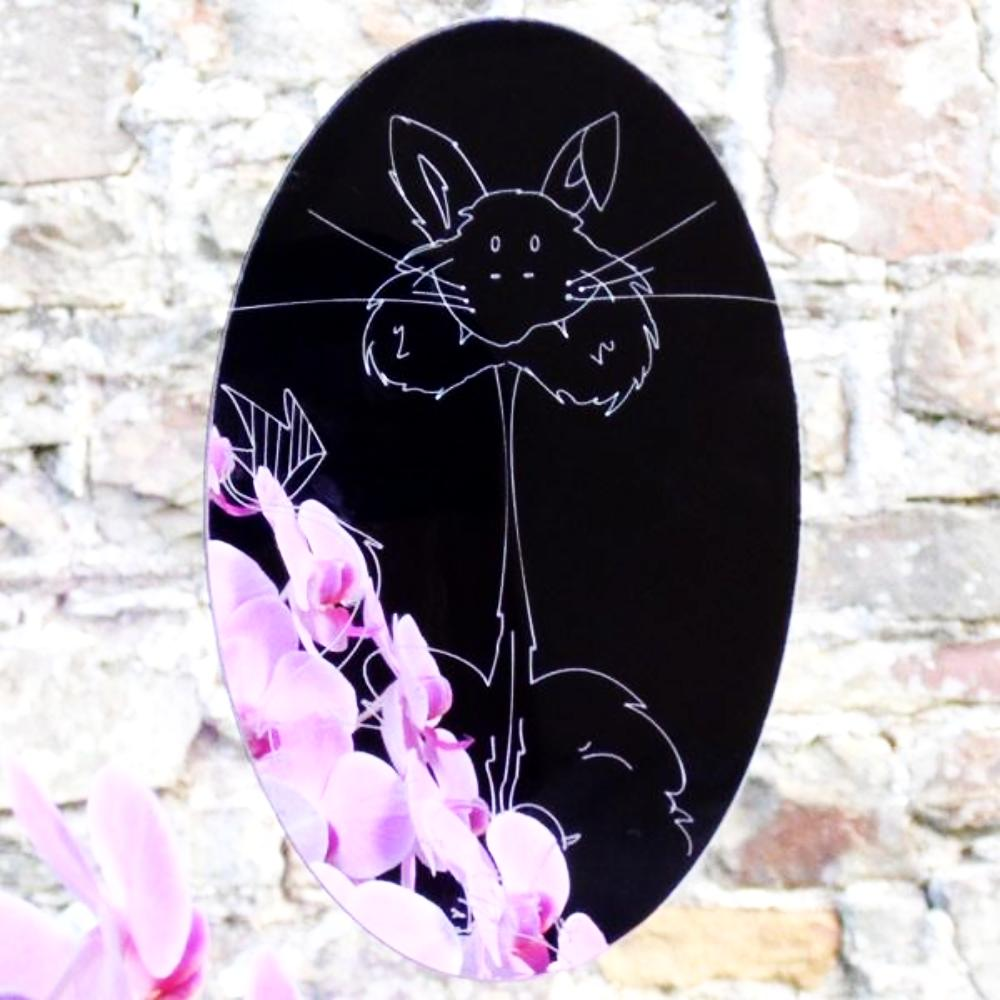 Neal's Cat Engraved Oval Acrylic Mirror - Suave Petal
